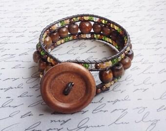 Wood Bead Bracelet, Leather Cord Bracelet, Leather Wrap Bracelet, Handmade Beaded Jewelry, Handmade Bracelet, Handmade Jewelry