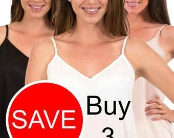 """THREE Cotton Camisole Package - """"Celine"""" Black, White or Crema(Warm Beige)"""