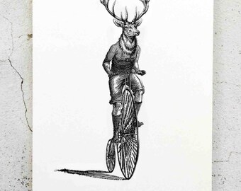 The Rider, old fashion screen print and digital art cycling handpaint, high quality card