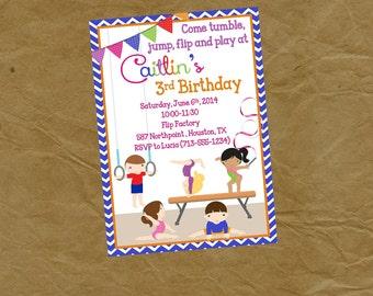 Gymnastics Birthday Party Invitation BOYS and GIRLS - Digital or Printed