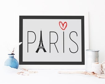 Paris Typography - Personalisable - Love Paris -  UK - Eiffel Tower - Capital Cities Typography - Wall Art - Home Decor - White Wall Decor