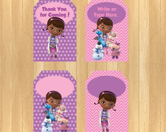 INSTANT DOWNLOAD - EDITABLE Doc McStuffins Thank You Tag