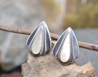 Sterling Silver and Mother of Pearl Modern Fan Post Earrings