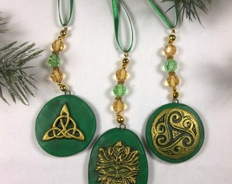 3 Piece Celtic Green & Gold Yule Solstice Christmas Polymer Clay Ornament Set
