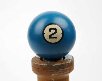 "Old No. 2 Clay Billiard Ball Size 2.25"" Brunswick Centennial Pocket Balls Two II Blue Color Pool Solid Solids Crackled Antique Set Stone"