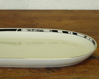 Black and white Alfoldi Plate -  Serving dish - Geometric patterns - porcelain - Silver - Made in Hungury - 80's