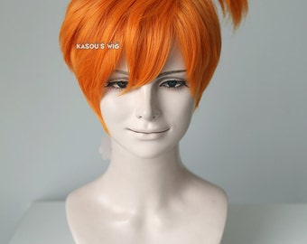 Pokemon Misty  short orange wig with pre-tied ponytail.