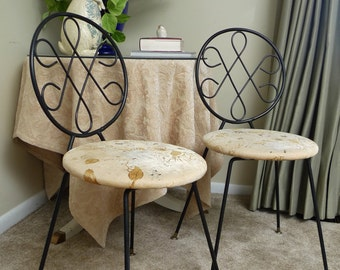 Pair of Vintage French Bistro Heavy Iron Chairs