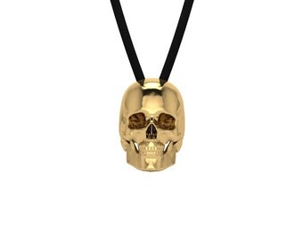Handmade Skull Necklace Jewelry Charm Pendant with adjustable cord