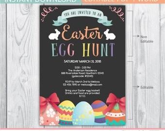 easter egg hunt invitation, egg hunt invitation, easter invitation, easter party, egg hunt, chalkboard invitation, easter eggs, easter bunny