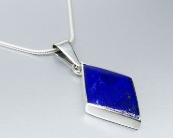Diamond shaped Lapis Lazuli pendant with Sterling silver - gift idea - classic shape inlay work - AAA Grade afghan Lapis - natural gemstone