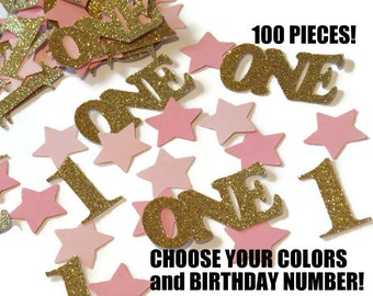 Twinkle Twinkle Little Star first birthday one confetti, pink and gold party, Number 1, Glitter, Stars, Pinks, babys 1st
