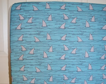 Shark Fins Fitted Crib Sheet Lots of Colors to Choose From - Toddler Sheet, Nursery Sheets, baby bedding