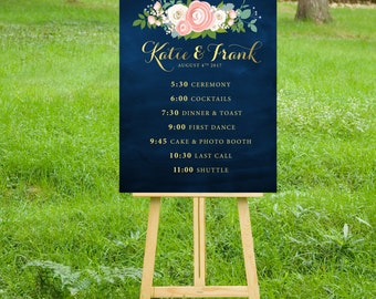 The JENNY . Timeline Event Sign Wedding Program Itinerary Printed Large Sign or PDF . Gold Calligraphy Navy Chalkboard Pink White Peony Rose