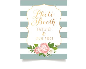 The KELLY . Photo Booth Guestbook Wedding Sign . Blue Stripes Rose Gold Copper Calligraphy White Roses Blush Peony Ranunculus . Print or PDF
