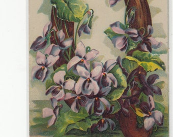 "Antique Postcard C1910 Alphabet Letter ""Q"" Pink/Purple Flowers, Letter Is Grained Wood"