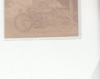 Antique 1900s Postcard Light Sepia Tone Early Motorcycle