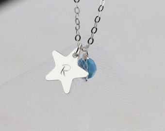Dainty Silver Star Initial Round Stone Necklace, Personalized Star, Initial Medium Disc, Sweet Friend Gift,  Birthday, Personalized gifts