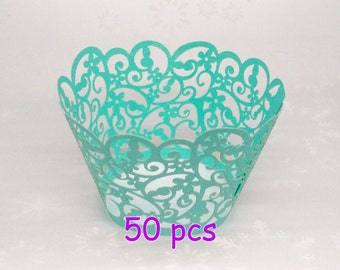 fancy blue wrapper Stencil cupcake liner Filigree Paper Laser Cupcake Wrappers wedding cake party wraps collar