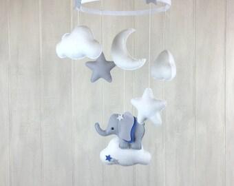 Baby mobile - elepahant mobile  - nursery mobile - cloud mobile - moon mobile - star mobile elephant nursery