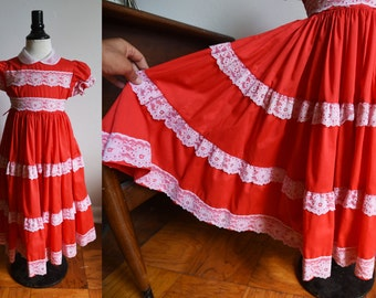 Child's Red Dress with lace and full skirt