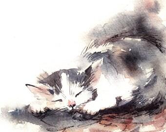 Cat Watercolor Print, Cat Painting, Watercolor Painting Art Print, Kitten Painting, Cat Wall Art