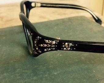 Eye Glasses sun glasses Eyeglasses Blinged Glasses Optical jeweled Frames Womens Ladies 1940s resin eye glasses frames Made in France