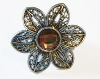 Topaz and Siver Petals Ring