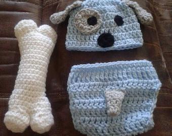 Crochet baby puppy costume photo prop, boy puppy set, puppy hat, newborn photo prop