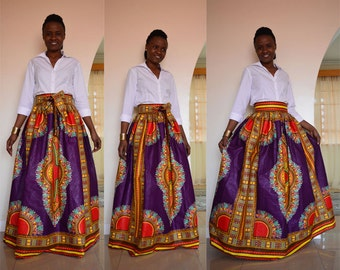 African print dashiki skirt - Mali maxi skirt with bow tie/ tie belt in purple. African print maxi skirt. Dashiki skirt. Angelina skirt
