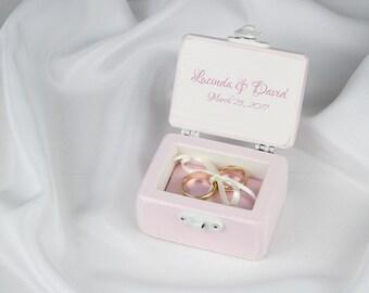 Ring Box, Pink Ring Box, Wedding Ring Box, Ring Bearer Box, Proposal Ring Box, Engagement Ring Box