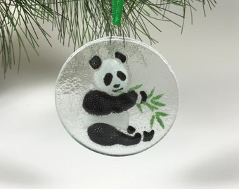 Panda Ornament Fused Glass