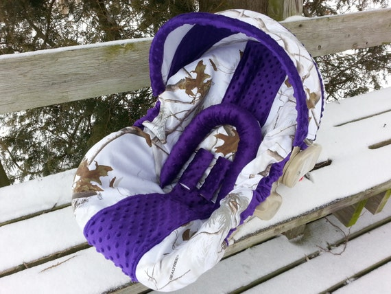 Camo Infant Car Seat Cover Realtree Snow Fabric And Purple