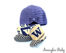 FLASH SALE Washington Huskies Baby Boots, UW Crochet Baby Hat and Matching Booties, College Football, Baby Gift, Baby Shower, Newborn Outfit