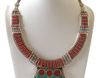 Ethnic Turquoise Coral Tibetan Necklace