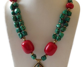 Turquoise Coral Amber Beaded Necklace