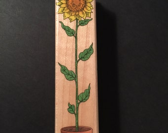 Hero Art TALL Sunflower in Pot F133 Rubber Wood Mounted Stamp Gently Used Card Scrapbooking