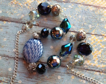 Blue Necklace, Beaded Necklace, Beadwork Necklace,  Beaded Jewelry, Beadwork Jewelry, Statement Necklace, Statement Jewelry, Gift For Her