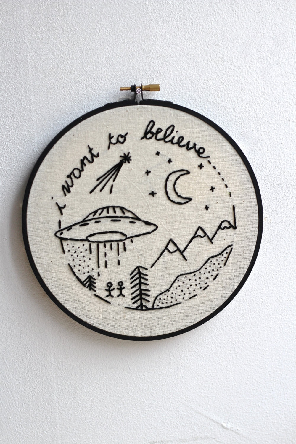 I want to believe embroidery hoop by twomoonsandhannais on