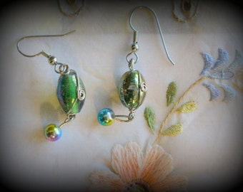 Green blue glass dangle earrings