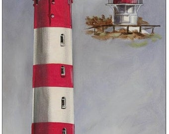 Original acrylic on canvas: Amrum Lighthouse / 30 x 60 cm