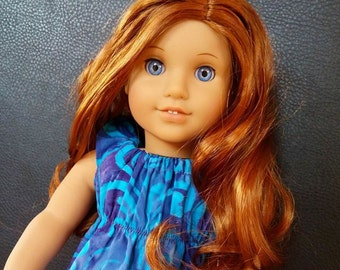 18 Inch custom American girl Doll red highlighted hair and hand painted blue eyes OOAK
