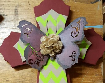 Large Stacked Burgandy and Lime Wall Cross with Butterfly Accent