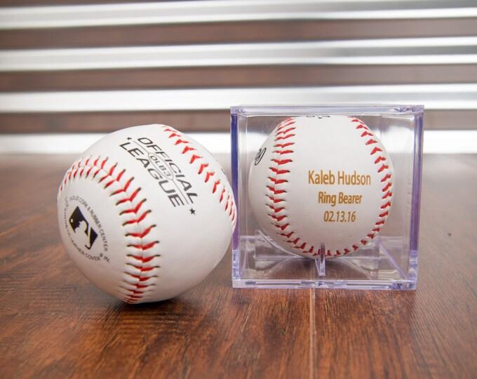 Engraved Baseball, Ring Bearer Gift, Groomsman Best Man Favor, Wedding Baseball, Custom & Personalized Baseball for Men