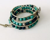 CatMar Beaded Turquoise and Blue Green Jasper Wrist Wrap Bracelet on Pewter Leather Cord with Button/Loop Closure