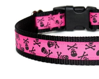 Hot Pink Skull & Crossbones Dog Collar - Adjustable - Black Nylon - (Buckle or Martingale)