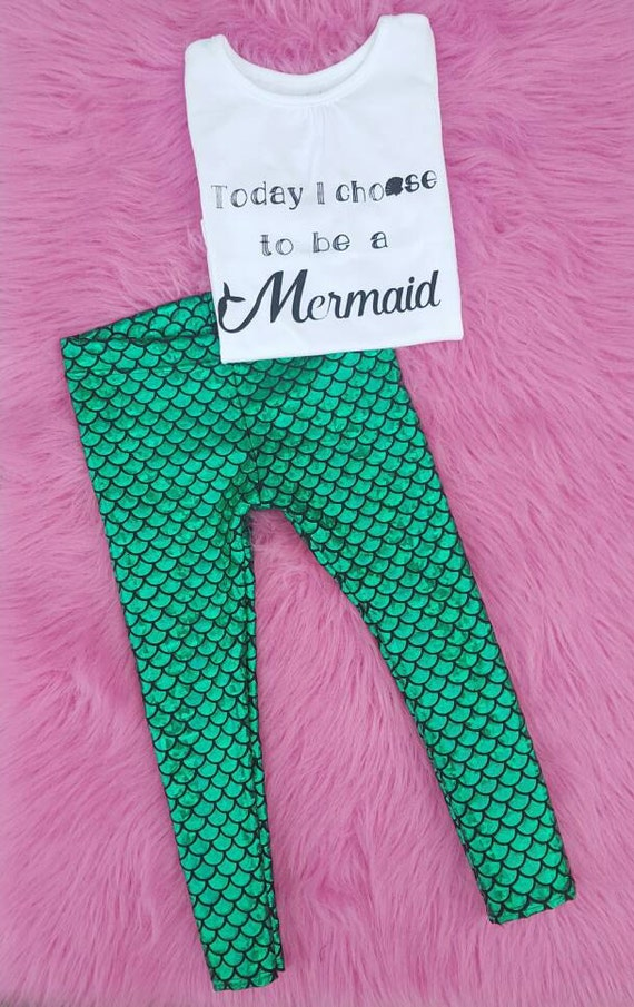 Mermaid Outfit Metallic Baby Leggings And Shirt By MamisLittleMuse