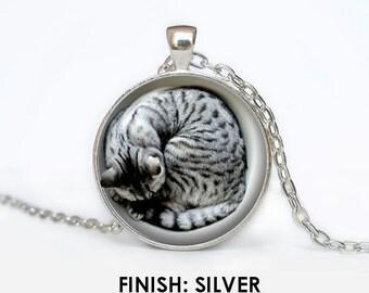 sleeping CAT Necklace, cat Jewelry, kitten gift for women handmade, silver bronze black animal Pendant - Scodinzolo in the aid of animals