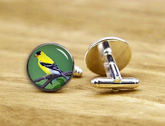 american goldfinches cuff links, goldfinches cuff links, custom birds cufflinks, wedding cufflinks, groom, round, square cufflink, tie clips
