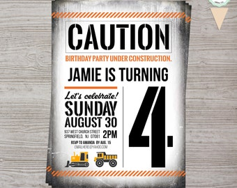 Personalized Construction Birthday Party Invitation - 5x7 - Digital or Printed